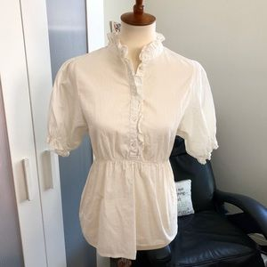 Cream pinstriped blouse with ruffles